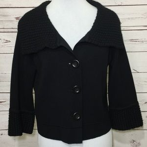 CAbi Black Knit Sweater Wool Blend Jacket